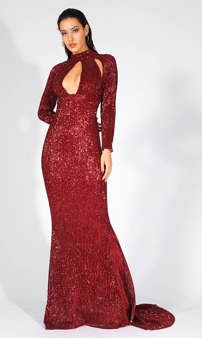 aded190ebd8 Pure Glamour Red Sequin Burgundy Long Sleeve Mock Neck Cut Out Keyhole Mermaid  Maxi Dress