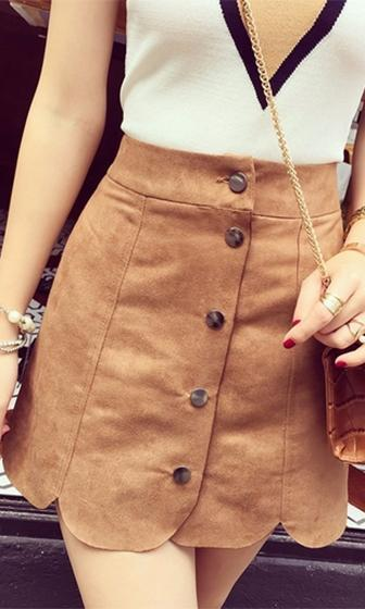 Moment Of Truth Brown Faux Suede Button Front High Waist A Line Mini Skirt -  Sold Out