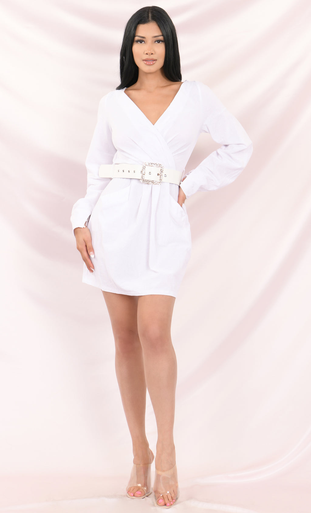 Cross Your Heart White Long Sleeve Off The Shoulder Cross Wrap V Neck Belted A Line Flare Casual Mini Dress