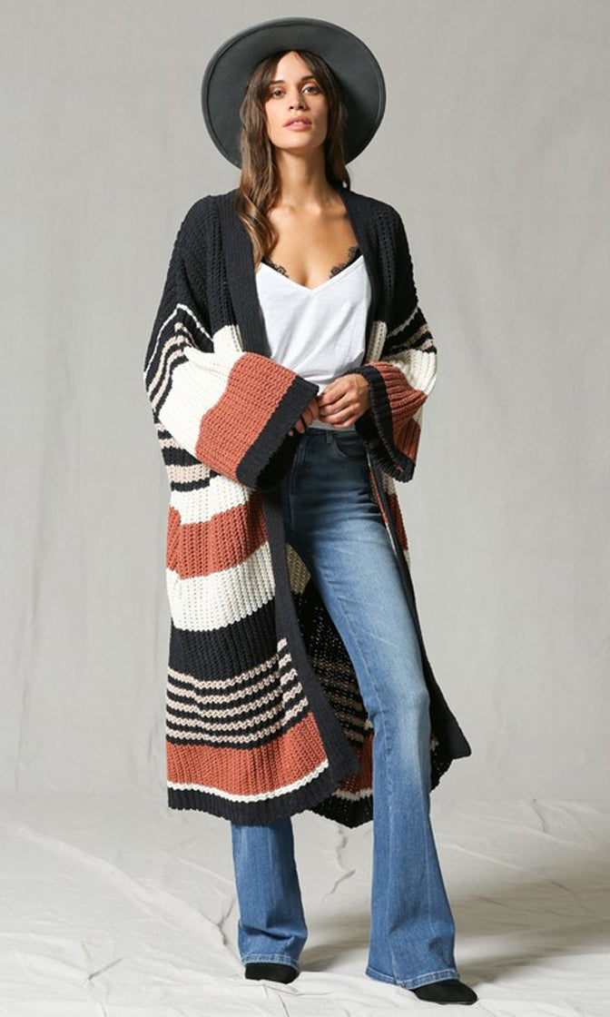 Fireside Wishes Black Brown White Horizontal Stripe Pattern Long Sleeve Chunky Cardigan Long Sweater