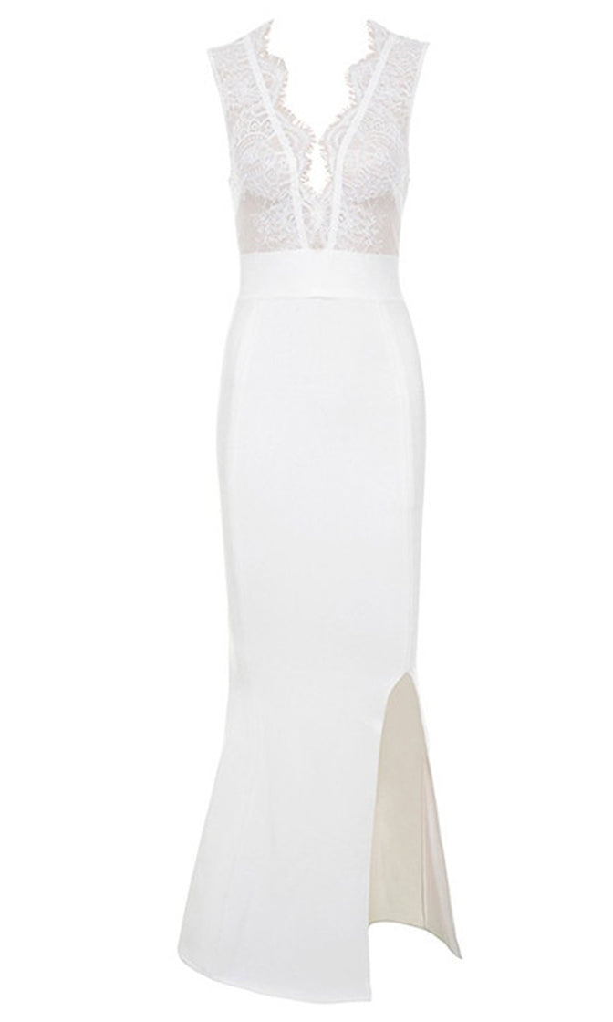 Standing Strong White Sleeveless Lace Trim Plunge V Neck High Slit Bodycon Bandage Maxi Dress