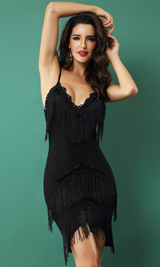 Full Time Flirt Black Fringe Sleeveless Spaghetti Strap V Neck Bodycon Bandage Mini Dress