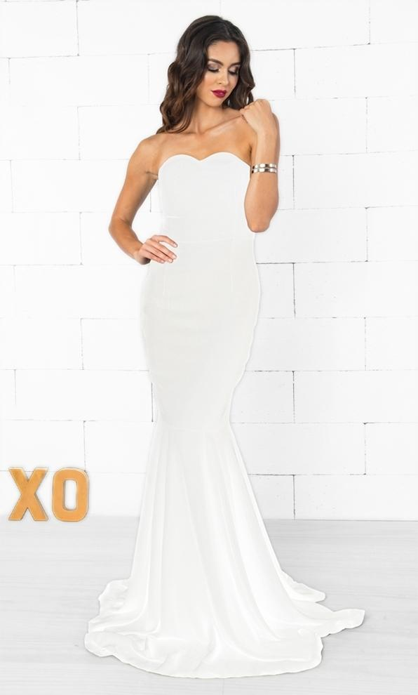 Indie XO Black Tie Affair Strapless Zip Back Mermaid Maxi Dress Gown in White- Just Ours!