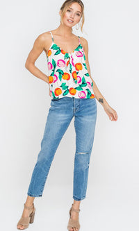 Happy Garden Sleeveless Spaghetti Strap Floral Pattern Green Orange Pink Flowy Front Tie Top - Sold Out