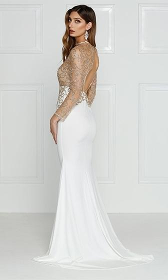 Captivating Desires White Gold Long Sleeve Mock Neck Sheer Mesh Swirl Cut Out Back Maxi Dress