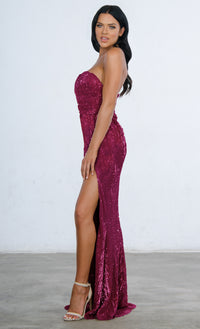 Show Me Some Love Silver Sequin Strapless Sweetheart Neck High Slit Fishtail Maxi Dress