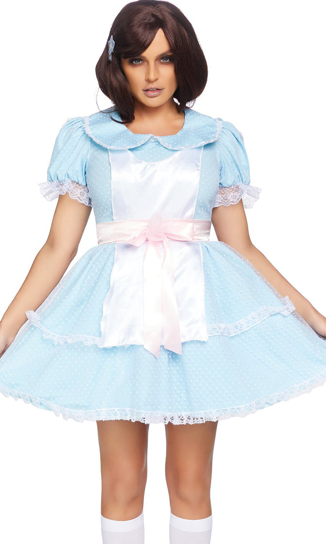 Evil Twin Blue Swiss Dot Lace Short Sleeve Scoop Neck Flare A Line Mini Dress Halloween Costume