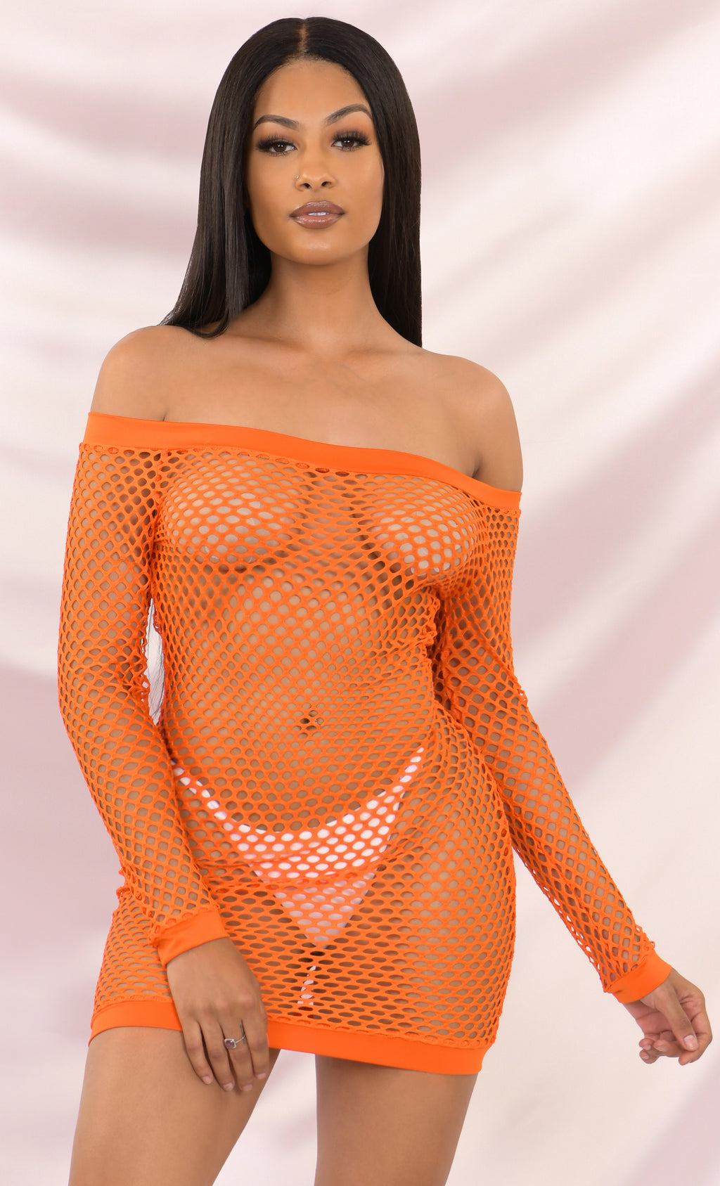 You Bet Fishnet Orange Mesh Beach Cover Up Cut Out Long Sleeve Off The Shoulder Bodycon Casual Mini Dress