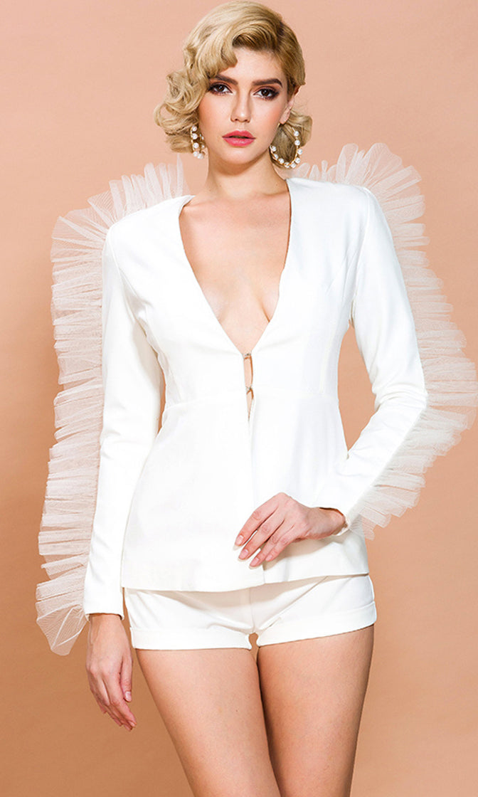 Don't Hate My Fame White Long Sleeve Pleat Ruffle Plunge V Neck Blazer and Short Romper Two Piece Set
