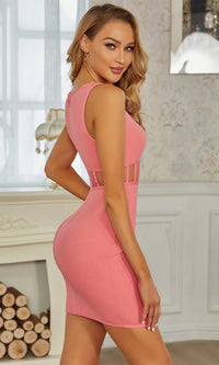 Truly Spectacular Pink Ribbed Sleeveless Round Neck Cut Out Waist Bandage Bodycon Mini Dress