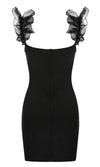 Late Night Lover Black Sleeveless Ruffle Scoop Neck Bodycon Bandage Mini Dress