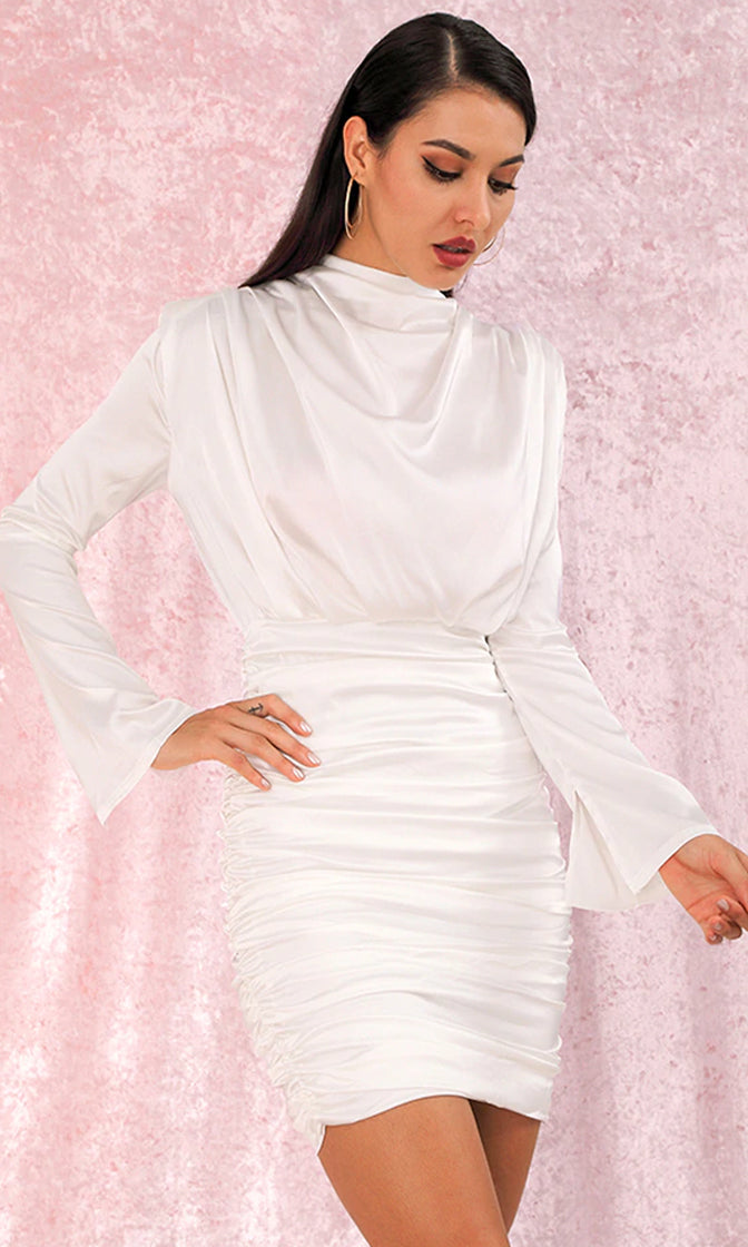 Thank You, Next White Satin Faux Silk Long Sleeve Drape Cowl Neck Mock Neck Ruched Mini Dress