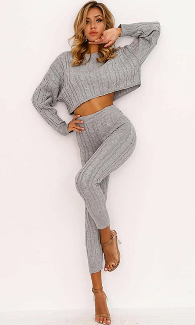 All Warmed Up Brown Gold Long Sleeve Cable Boat Neck Crop Pullover Sweater Drawstring Legging Lounge Two Piece Jumpsuit - 3 Colors Available