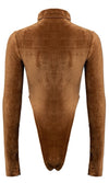 Cuddle Season Brown Corduroy Scoop Neck Turtleneck Zipper Long Sleeve High Cut Bodysuit Top
