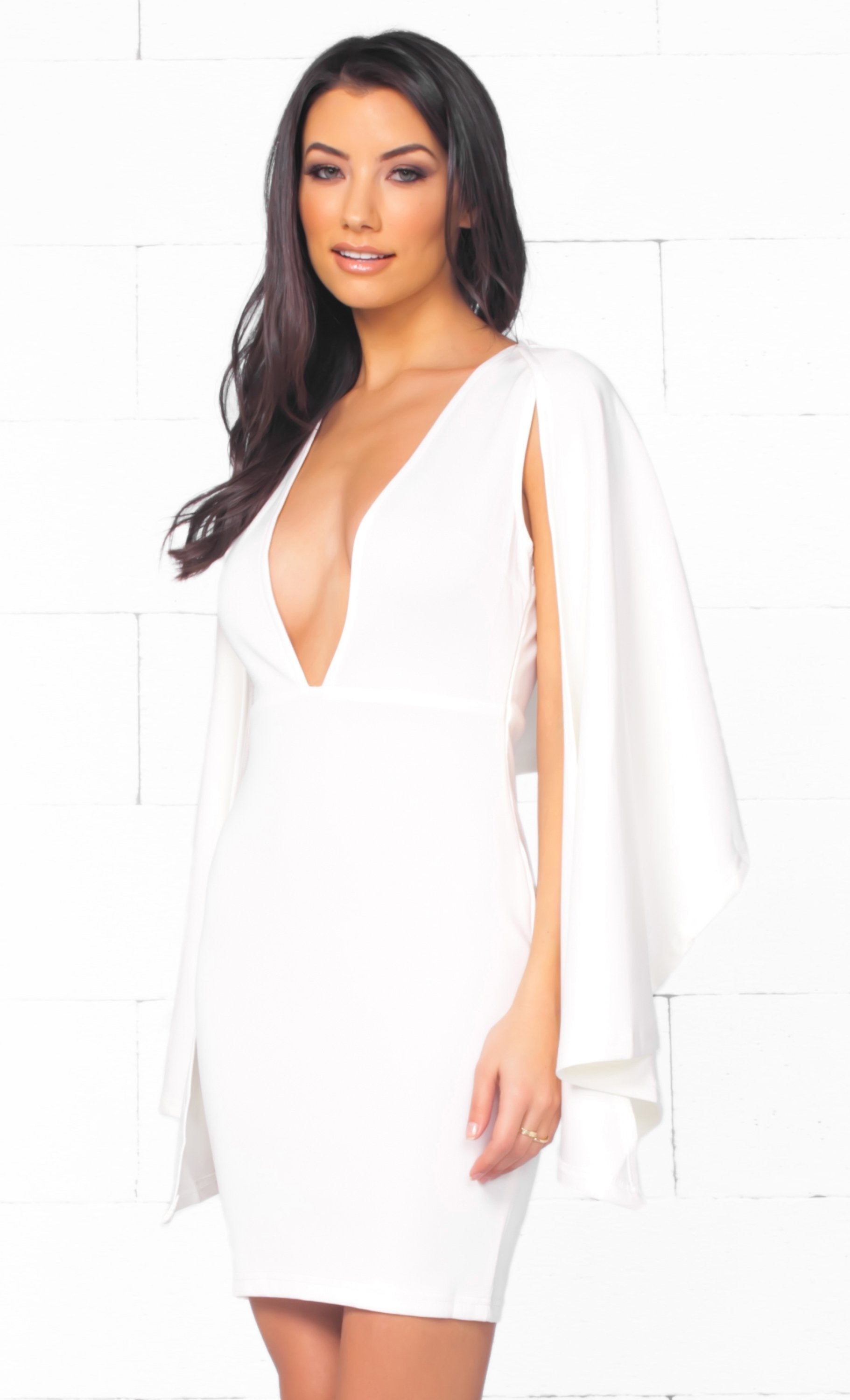 Indie XO Simply Irresistible White Long Split Sleeve Deep V Neck Bodycon Cape Mini Dress - Just Ours - Sold Out