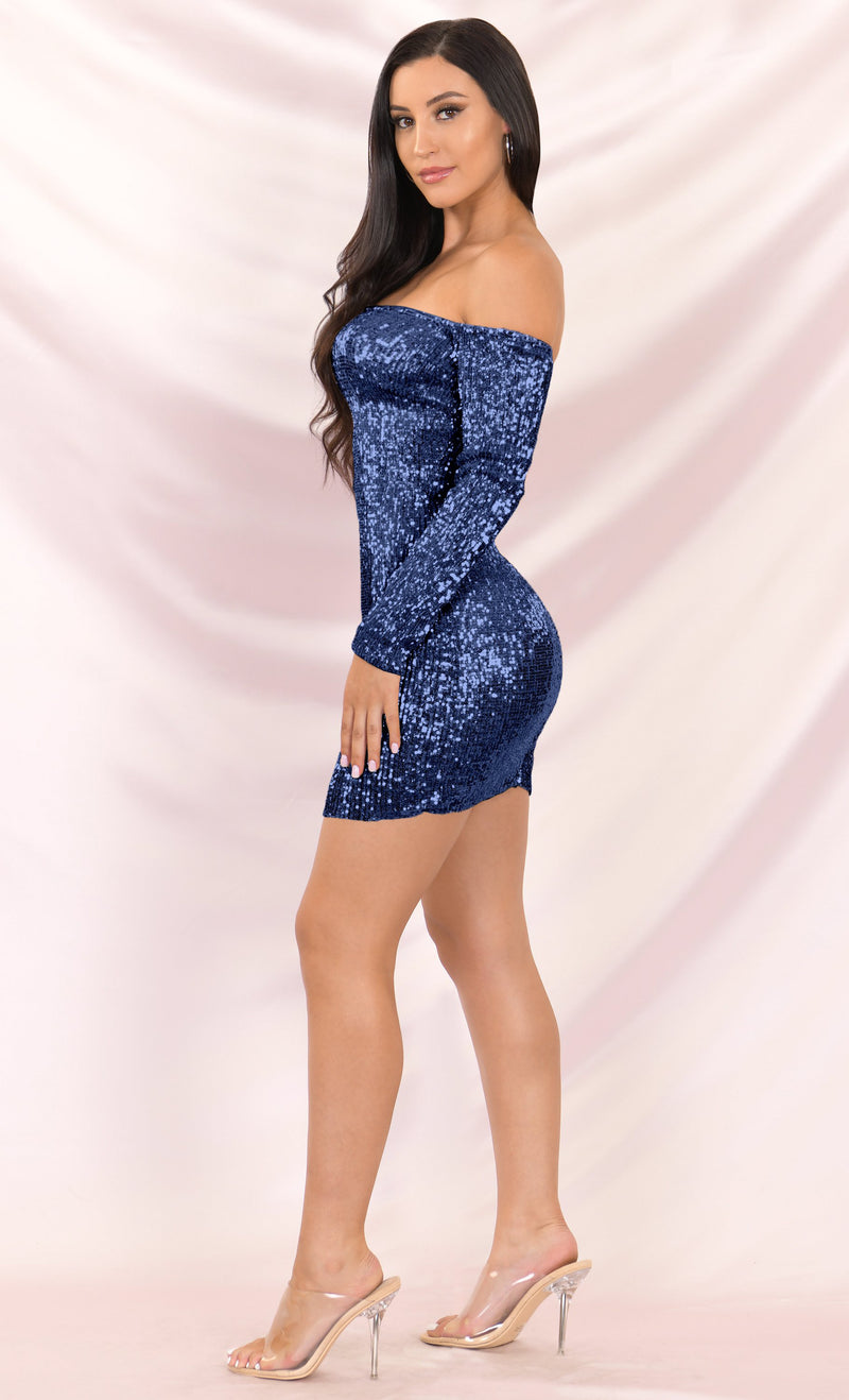 I've Got Stamina Black Sequin Long Sleeve Off The Shoulder Bodycon Mini Dress