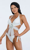 Indie XO Getting Famous Black Rhinestone Sleeveless Halter Plunge V Neck Cut Out Mesh Monokini One Piece Swimsuit