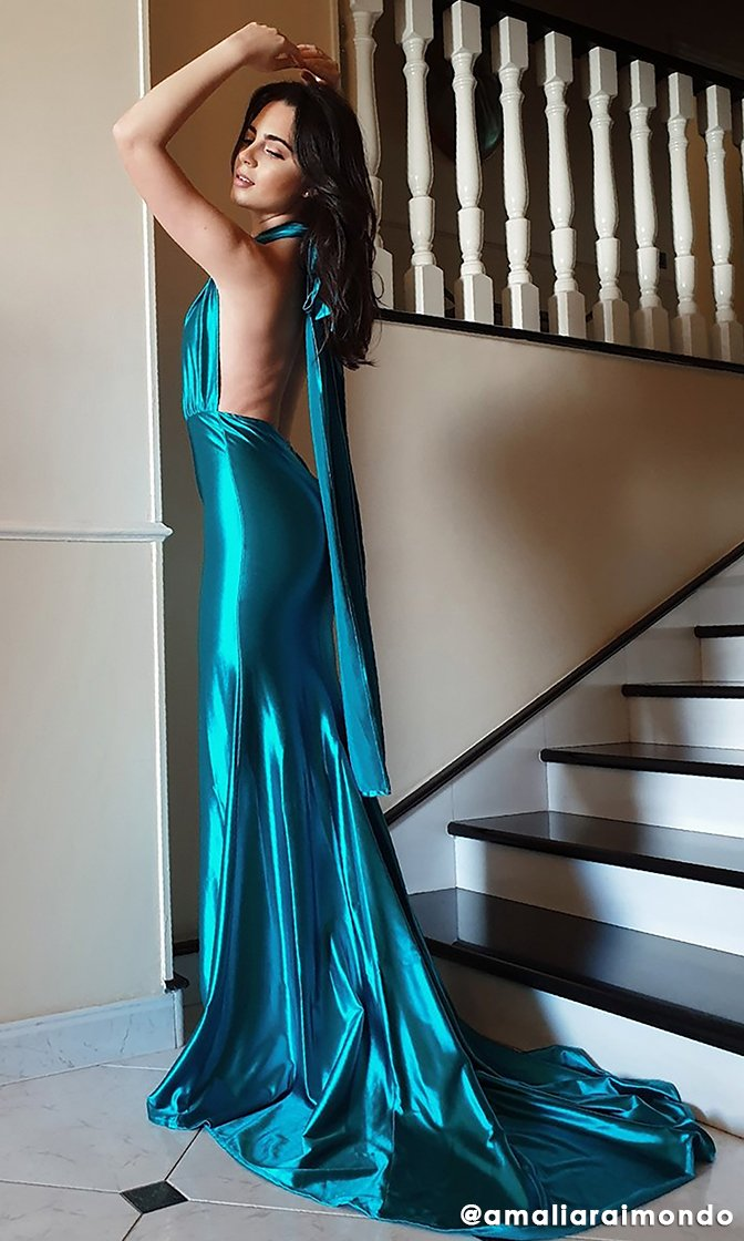 Mermaid Madness Blue Green Satin Sleeveless Plunge V Neck Backless Mermaid Maxi Dress