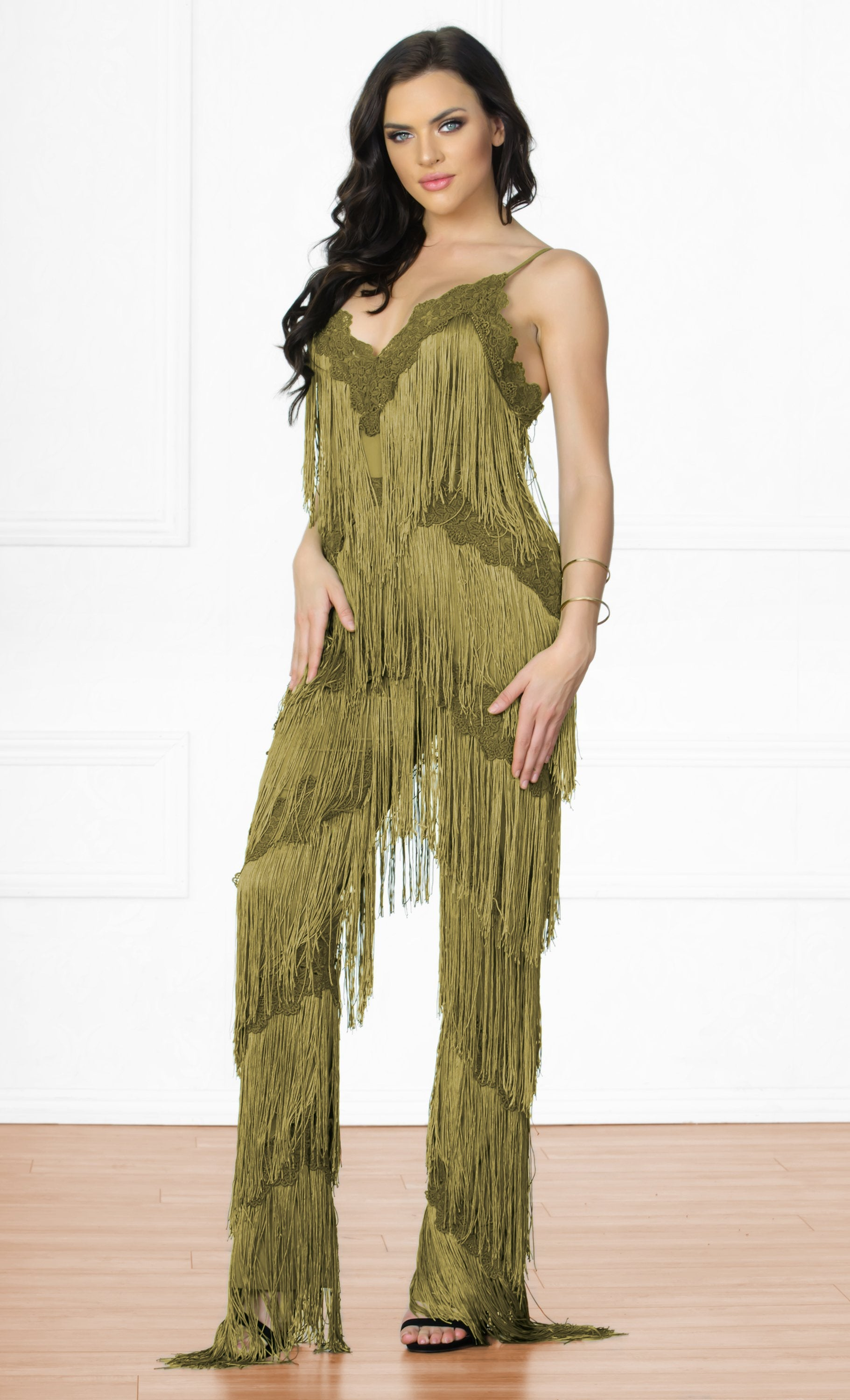 Indie XO Tinsel Town Army Green Sleeveless Spaghetti Strap Plunge V Neck  Fringe Tiered Jumpsuit - 1a2803c24