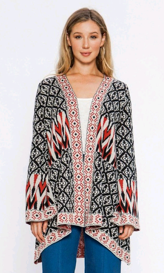 Instant Karma Multicolor Geometric Pattern Long Bell Sleeve Open Front Cardigan Kimono