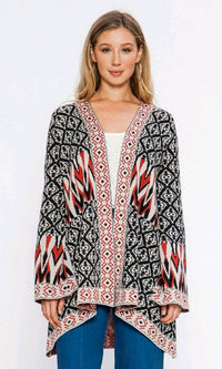 Instant Karma Multicolor Geometric Pattern Long Bell Sleeve Open Front Cardigan Kimono - Sold Out