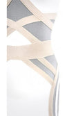 If You Could See Me Now White Grey Beige Colorblock Sleeveless Cut Out Halter Bandage Bodycon Mini Dress - Sold Out
