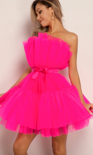 Birthday Girl Puffy Fuchsia Pink Strapless Satin Bow Elastic Belt Crinkled Micro Pleated Ruffle Tulle Poofy Skater Flare Mini Dress