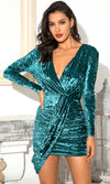 Always Happy Pink Sequin Long Lantern Sleeve One Shoulder Asymmetric Cross Wrap Tie Belt Bodycon Mini Dress