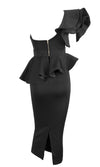 Be Faithful Black One Shoulder Ruffle Peplum Twist Front Two Piece Bodycon Midi Dress