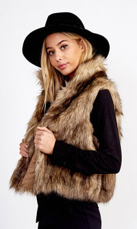 Always Extra Brown Faux Fur Sleeveless Vest Outerwear - Sold Out