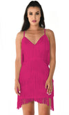 I'm Feeling Something Fuchsia Pink Sleeveless Spaghetti Strap Fringe Tassel V Neck Bodycon Mini Dress