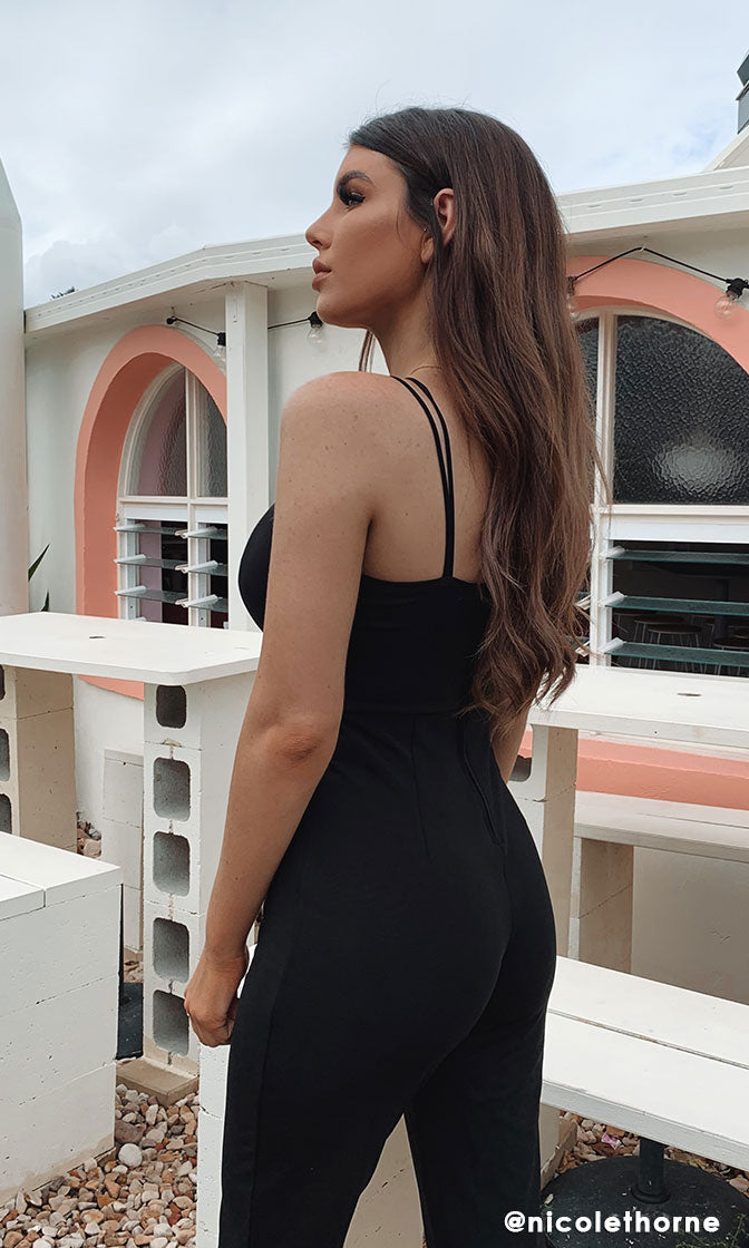 Miami Romance Black Sleeveless Double Spaghetti Strap Plunge V Cut Out Waist Wide Leg Loose Jumpsuit - 2 Colors Available