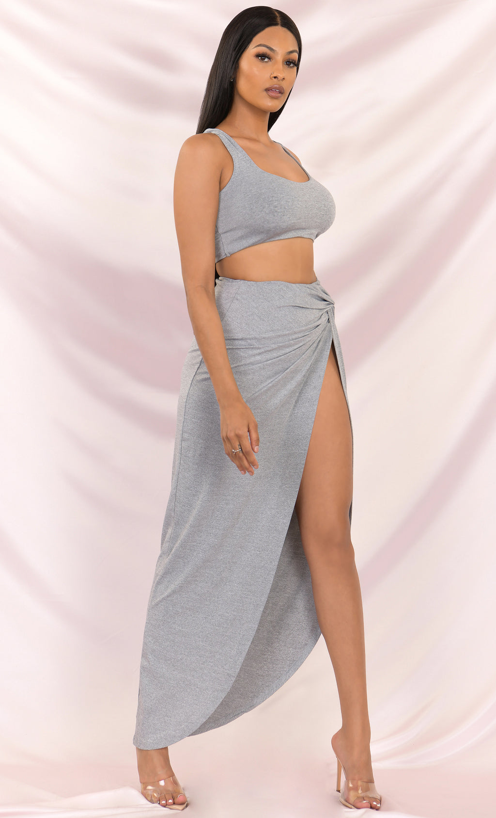 You're The One Light Gray Sleeveless Scoop Neck Casual Crop Tank Top Set Slit Maxi High Waisted Asymmetrical Ruched Twist Skirt Two Piece Dress