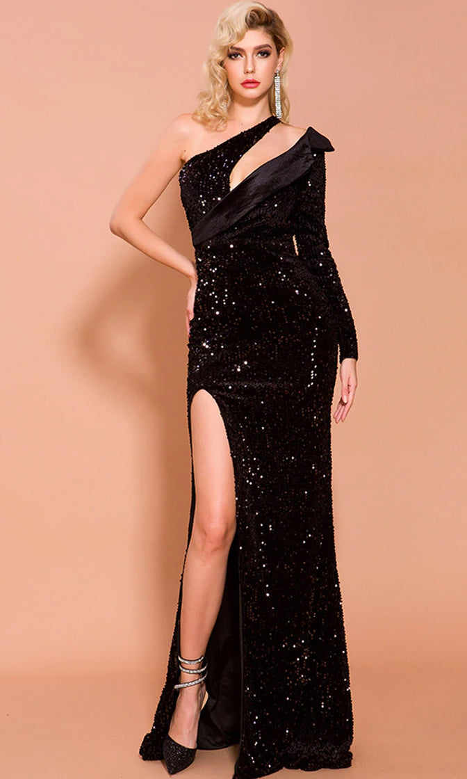 Everyone Sees You Black Sequin Long Sleeve One Shoulder Cut Out Side Slit Maxi Dress