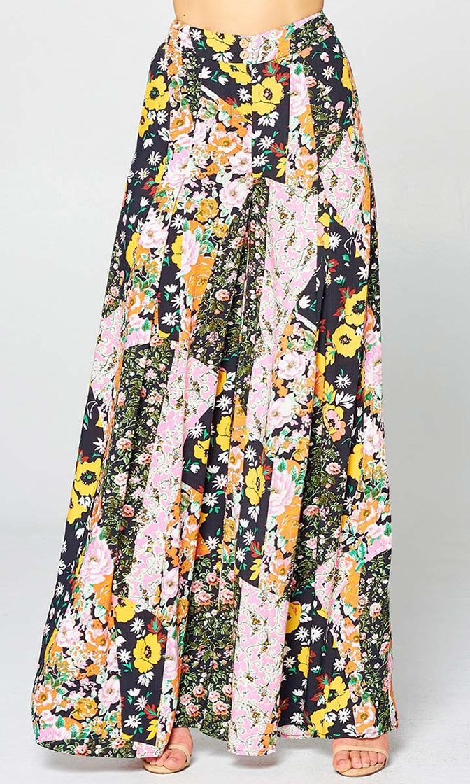 Jungle Flower Pleated Patchwork Floral Pattern High Waist Wide Leg Loose Palazzo Pants