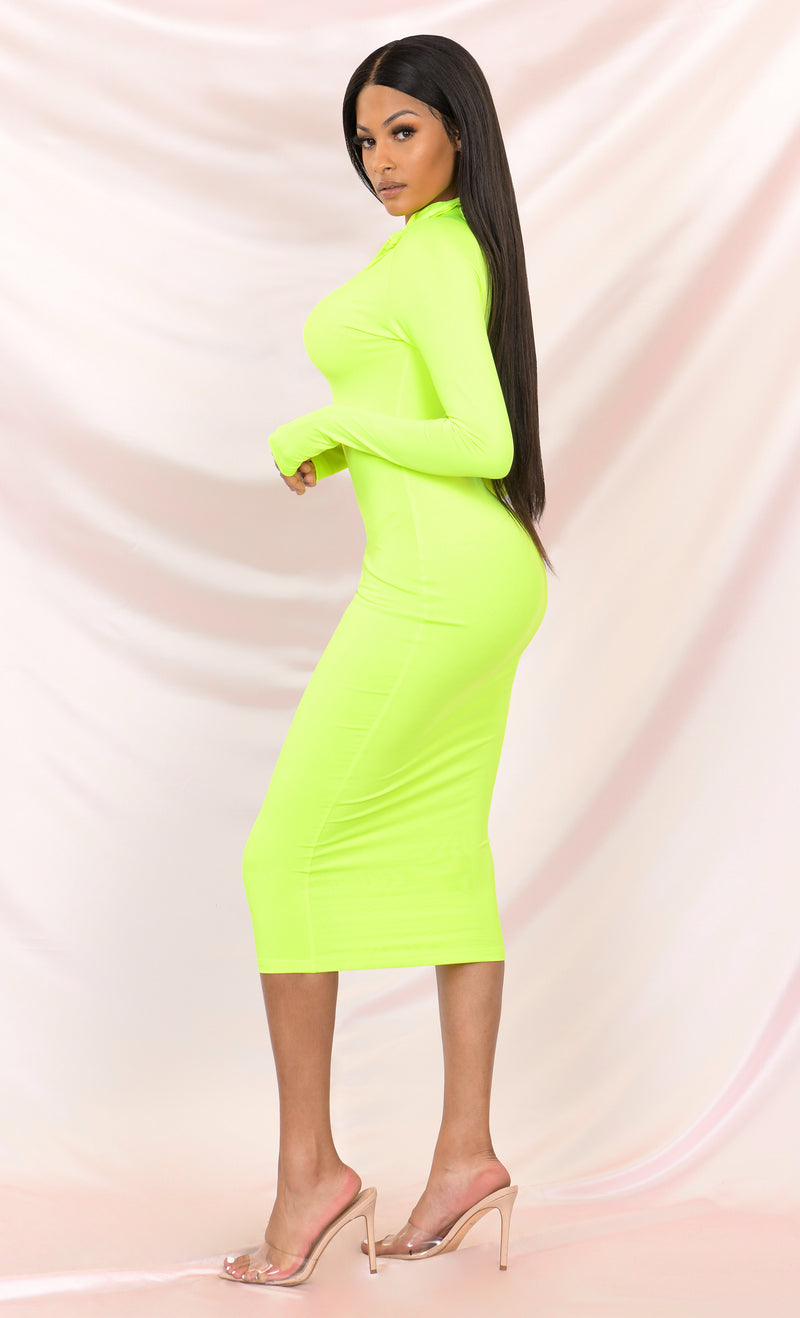 Press To Play White Long Sleeve Mock Neck Zip Front Bodycon Midi Dress