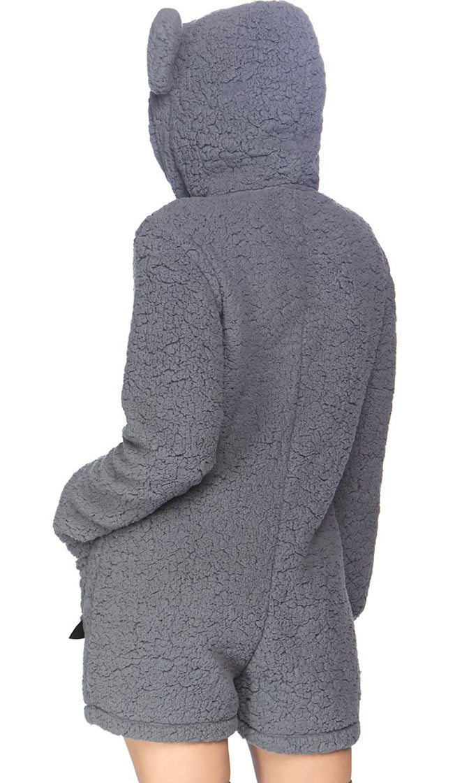 Koala Babe Grey Long Sleeve Zip Front Hood Romper Playsuit Halloween Costume