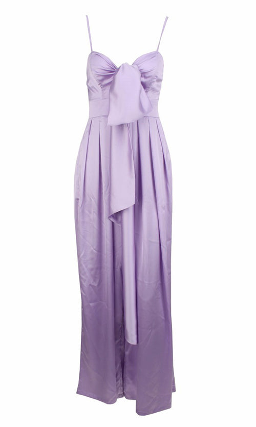 Coming To Play Light Purple Sleeveless Spaghetti Strap Bow Wide Leg Jumpsuit