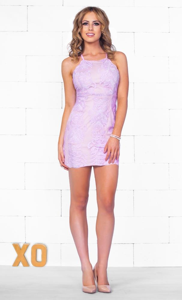 Indie XO I'm Yours Purple Lavender Nude Lace Sleeveless Spaghetti Strap Halter Open Back Bodycon Mini Dress - Just Ours!