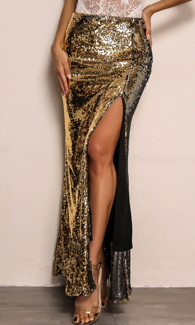 Festive Feelings Gold Sequin Slit Front Black Contrast Maxi Skirt