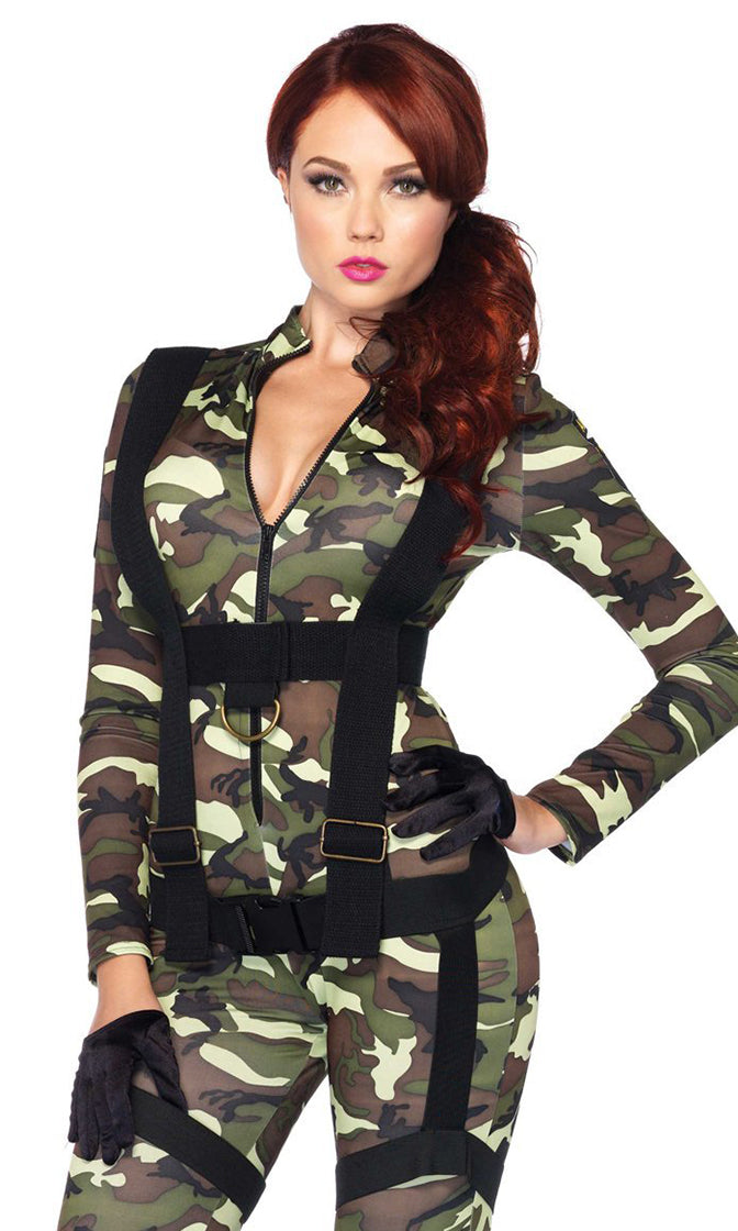 Camo Cutie Camouflage Pattern Long Sleeve Mock Neck Zipper Harness Bodycon Jumpsuit Halloween Costume