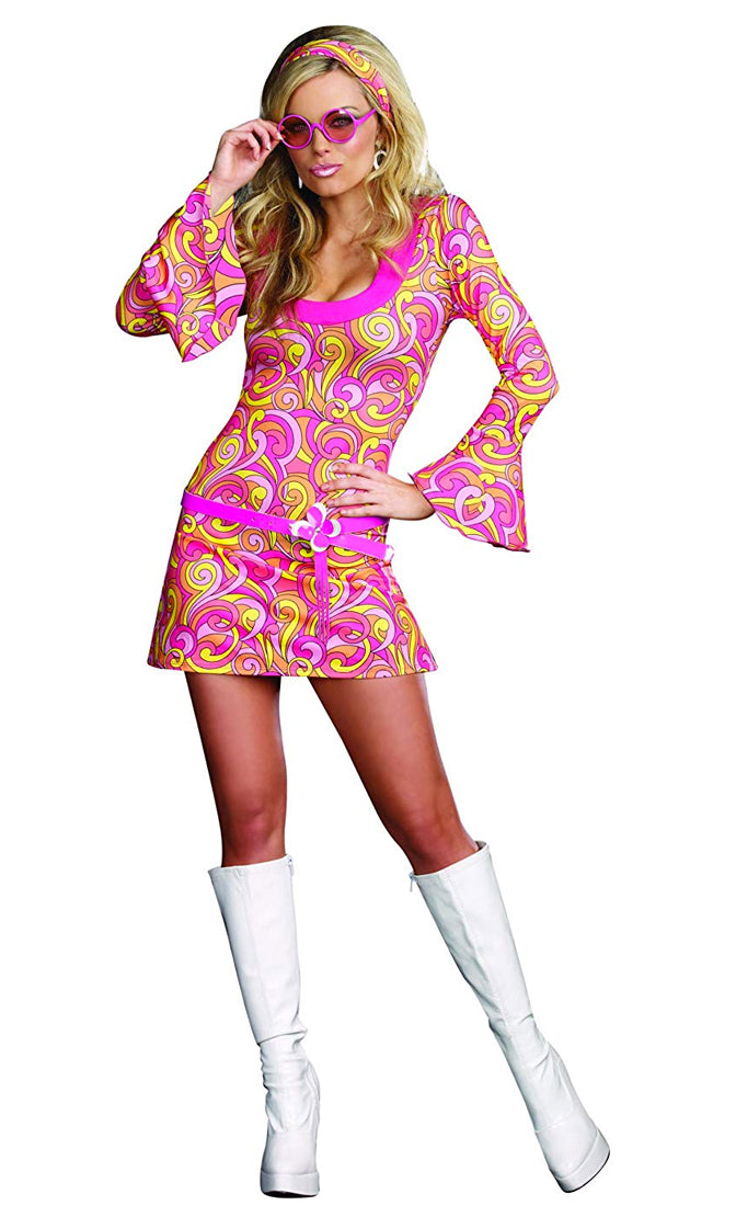 Funky Town Pink Yellow Orange Swirl Geometric Pattern Long Bell Sleeve Scoop Neck Bodycon Mini Dress Costume