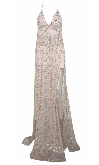 Push Back Beige Gold Sheer Mesh Sequin Spaghetti Strap Plunge V Neck Double Slit Maxi Dress - Sold Out