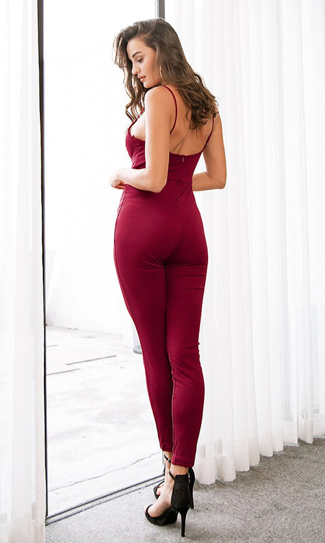 Kiss Me Baby Sleeveless Spaghetti Strap Plunge V Neck Lace Up Skinny Bodycon Jumpsuit - 3 Colors Available