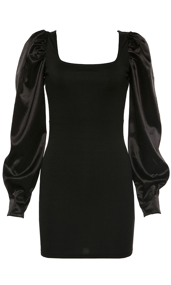 Because You're Mine Black Satin Long Lantern Sleeve Puff Shoulder Square Neck Bodycon Mini Dress