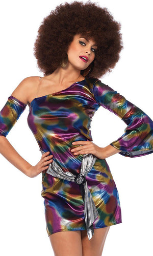Disco Queen Purple Blue Gold Tie Dye Swirl Pattern One Shoulder Long Bell Sleeve Bodycon Mini Dress Halloween Costume - Sold Out