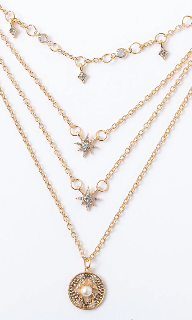 Light The Incense Gold Faux Pearl Rhinestone Multilayer Chain Pendant Necklace