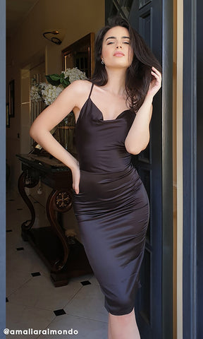 Curves Ahead Champagne Satin Sleeveless Plunge V Neck Ruched Draped Bodycon Midi Dress