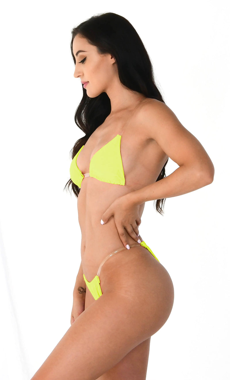 Breathing Underwater Neon Lime Green Clear Strap Triangle Top Thong Bikini Two Piece Swimsuit