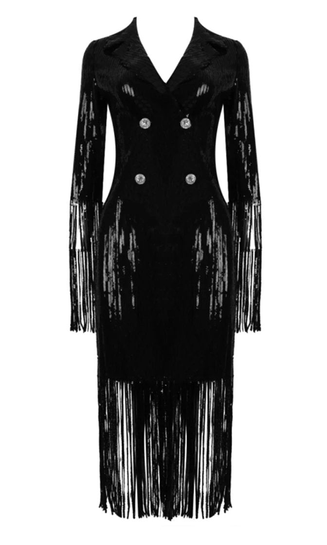 No Paparazzi Please Black Sequin Long Sleeve Fringe V Neck Double Breasted Button Midi Dress